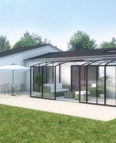 Prix abri piscine veranda rideau | veranda bois photo