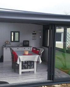 Modele extension veranda | veranda aluminium gris