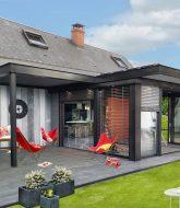 Veranda a toit plat, veranda coin cuisine