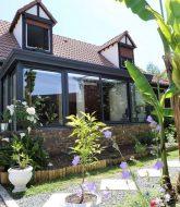 Veranda bois pour piscine | veranda evolution rozay en brie