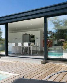 Veranda Moderne Piscine Et Extension Veranda Bois Toit Plat