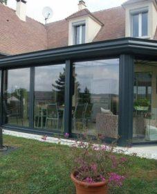 Veranda Aluminium Noir Par Veranda Maison En U