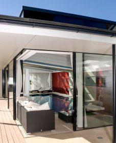 Veranda rideau nord, rideaux interieur toit veranda