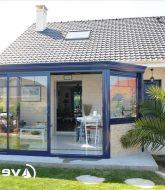 Photo de veranda avec muret : veranda confort.com