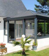 Veranda alu gris anthracite par veranda moderne toit plat prix
